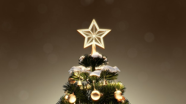 Arbre de noël et coffrets cadeaux de décoration sous avec bokeh lumières de neige la nuit