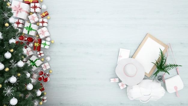 Arbre de noël avec des coffrets cadeaux
