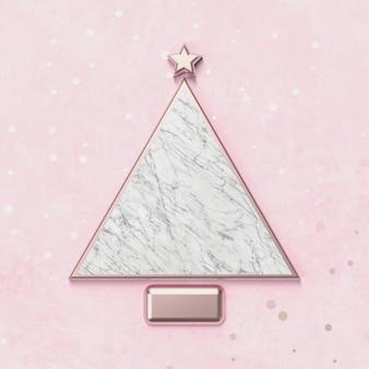 Arbre de noël créatif pour l'affichage des produits avec une texture en pierre de marbre. fond de noël 3d. vue de dessus. mise à plat.