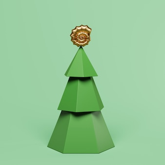 Arbre de noël avec décoration sur rendu 3d vert pastel