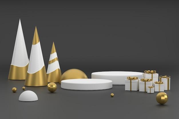Arbre de noël doré et podium pour l'affichage des produits au fond noir du festival de noël