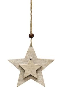Arbre de noël étoile en bois jouet isolé sur fond blanc