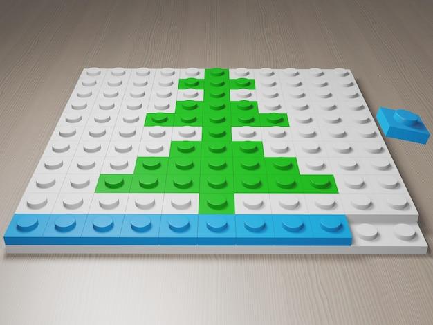 Arbre de noël fabriqué à partir de blocs lego rendu photoréaliste 3d