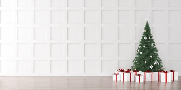 Arbre de noël avec fond intérieur de boîtes à cadeaux