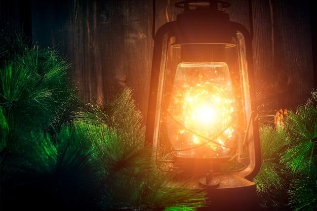 Arbre de noël led lampe lumière bat kérosène