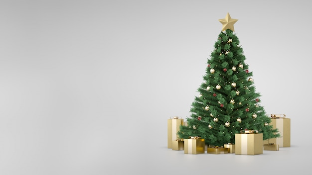 Arbre de noël de luxe incroyable avec des coffrets cadeaux dorés et un espace de copie latéral. rendu 3d. clignotant d'arbre de noël. joyeux noel et bonne année. des cadeaux de noël sous l'arbre. épinette de pin décorative.