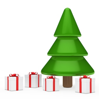 Arbre de noël avec quatre cadeaux