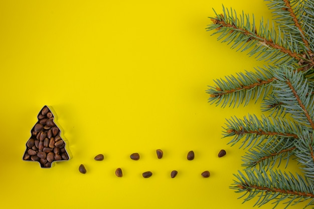 Un arbre de pignons de pin sur fond jaune et une branche de noël avec un espace de copie.