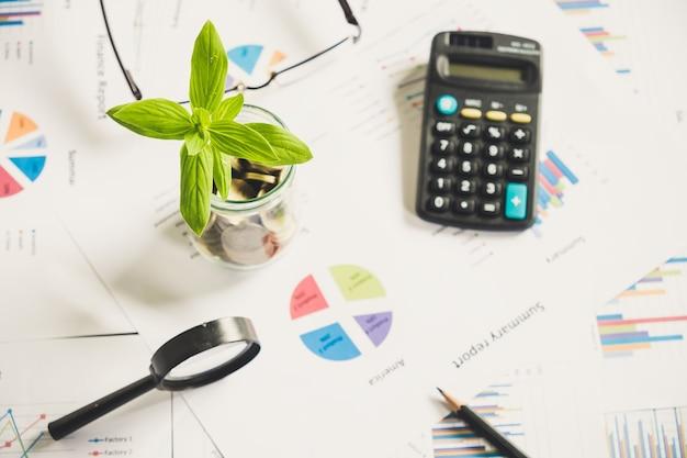 Arbre se développe sur les pièces en bouteille sur le rapport de tableau financier avec loupe et calculatrice en arrière-plan, idée de concept de croissance des entreprises