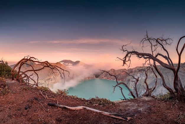 Arbre séché sur cratère de volcan actif avec lac turquoise à l'aube