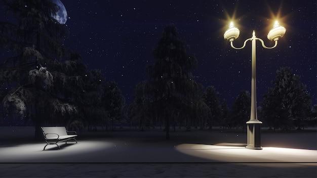 Arbres enneigés un jour de neige enneigée avec un lampadaire