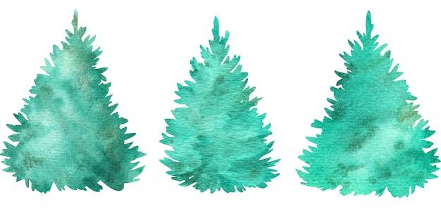 Arbres de noël vert aquarelle. arbres de conifères. illustration dessinée à la main.