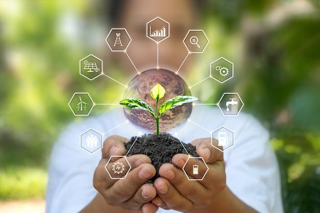 Arbres poussant sur le sol entre des mains humaines et icônes liées à l'énergie respectueuses de l'environnement, concept de jour de la terre et économie d'énergie. éléments de cette image décorés par la nasa.