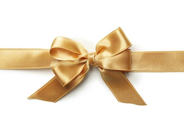 Arc cadeau or isolé sur fond blanc