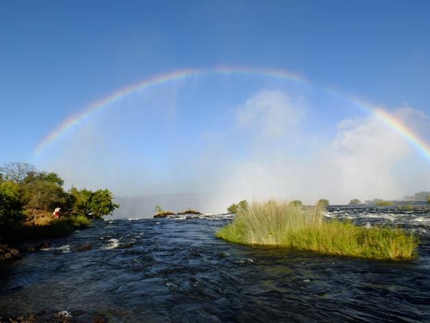 Arc-en-ciel sur les chutes victoria à la frontière de la zambie et du zimbabwe
