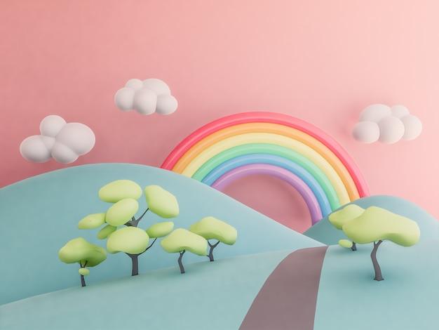 Arc en ciel avec montagnes fond pastel