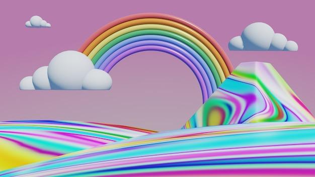 Arc en ciel avec montagnes pastel, rendu 3d