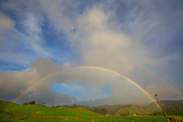 Arc-en-ciel naturel coloré et lumineux.