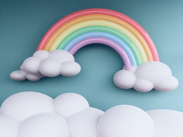 Arc en ciel avec nuages fond pastel