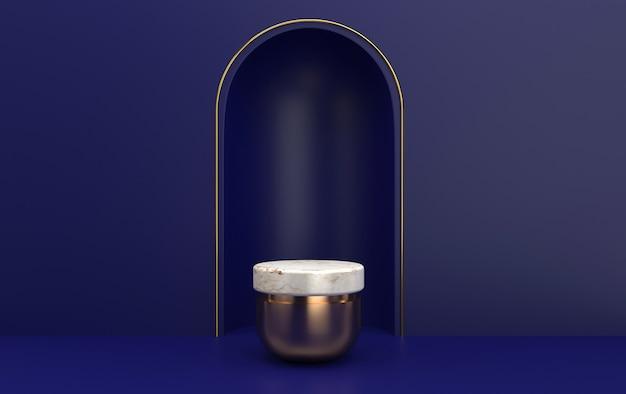 Arc avec un piédestal en marbre aux couleurs bleues, plate-forme cylindrique en or, portail minimal avec cadre en or, rendu 3d, scène avec des formes géométriques, fond abstrait minimal