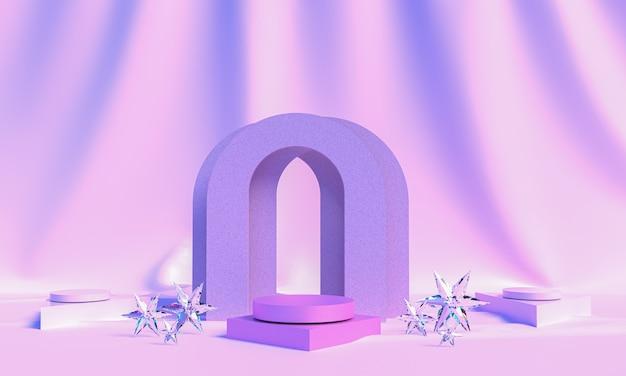 Arc avec un podium aux couleurs pastel, fond minimal, plate-forme pastel, rendu 3d, scène avec des formes géométriques