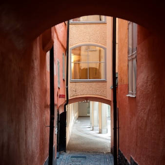 Arcade dans une ruelle, gamla stan, stockholm, suède