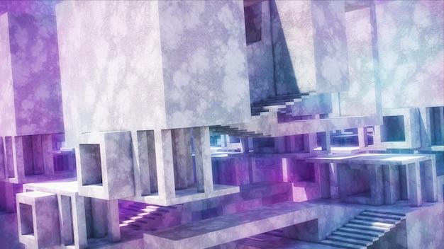 Architecture abstraite en béton. structures en béton avec un éclairage lumineux.