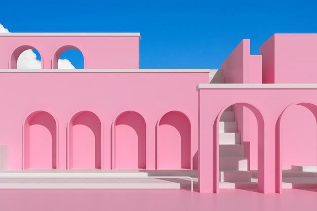 Architecture abstraite avec escalier et structure en arc.