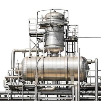 Architecture du système de tuyaux de la centrale isolé sur blanc
