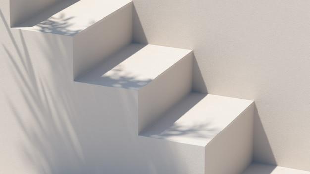 Architecture d'escaliers et fond d'éclairage naturel pour la présentation du produitillustration de rendu 3d