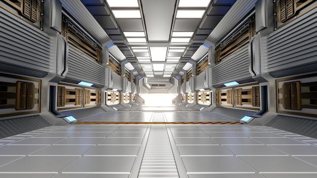 Architecture futuriste scifi couloir et couloir intérieur