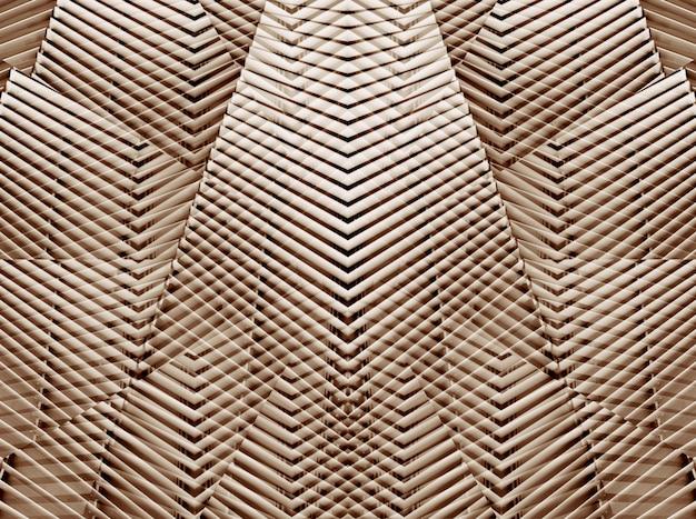 Architecture moderne abstraite en cuivre d'un modèle de mur en acier.