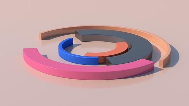 Des arcs colorés se transforment. fond beige, gros plan. illustration abstraite, rendu 3d.