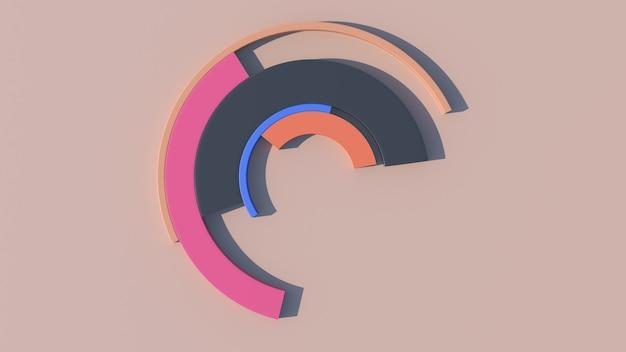 Des arcs colorés se transforment. fond beige. illustration abstraite, rendu 3d.