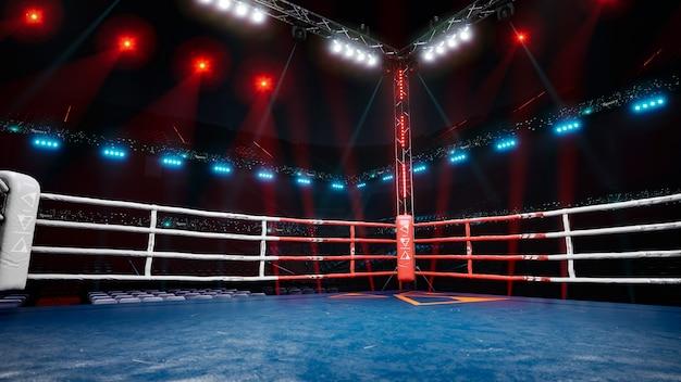 Arène de boxe vide en attente d'une nouvelle illustration de rendu d ronde