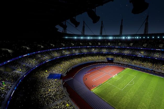 Arène du stade de football de nuit avec des fans de la foule, rendu photo de haute qualité