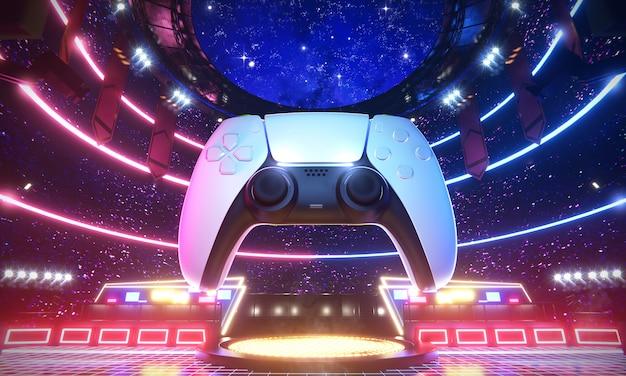 Arène e-sport et manette de jeu, illustration de rendu 3d.
