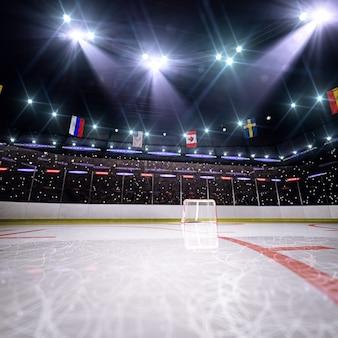Arène de hockey vide en rendu 3d