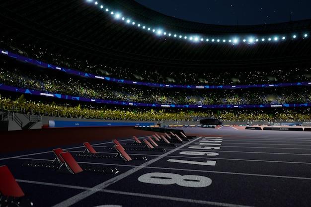 Arène de stade d'athlétisme de nuit avec des fans de la foule