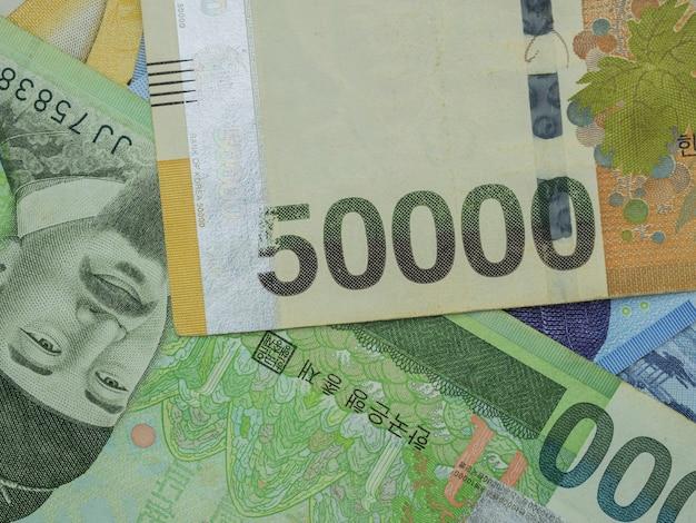 L'argent des billets de banque gagnés en corée du sud