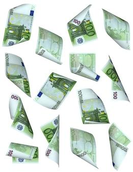 L'argent des billets en euros tombe isolé sur blanc