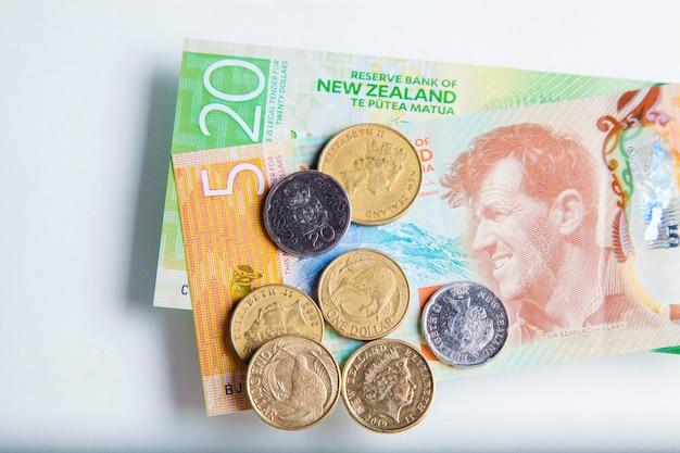 Argent, billets et pièces de nouvelle-zélande