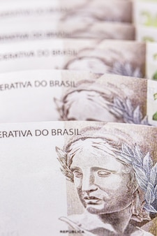 Argent du brésil, billets de deux cents reais, texture et surface des billets de banque