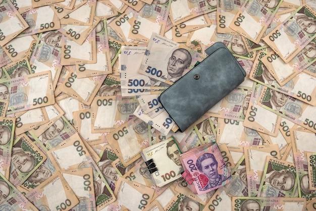 L'argent du portefeuille des femmes en espèces hryvnia ukrainienne.