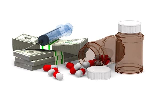 Argent et médicaments sur un espace blanc
