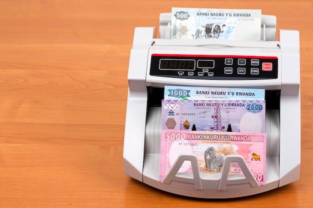 Argent rwandais - franc dans une machine à compter
