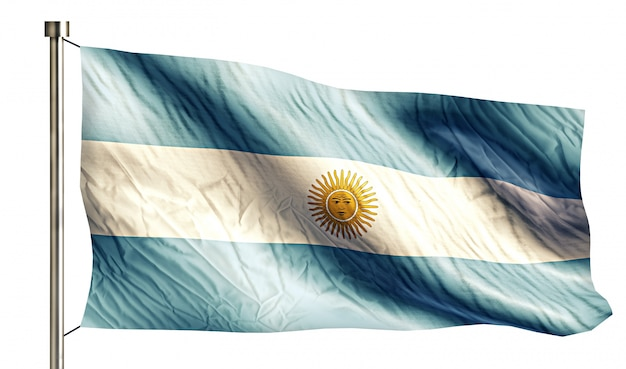 Argentine national flag isolated 3d fond blanc