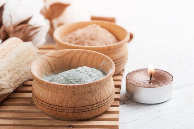 Argile marocaine cosmétique rouge et bleue