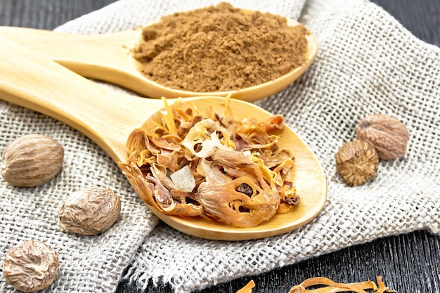 Arillus de muscade séchée et muscade moulue dans deux cuillères, noix entières sur toile de jute sur fond de planche de bois foncé