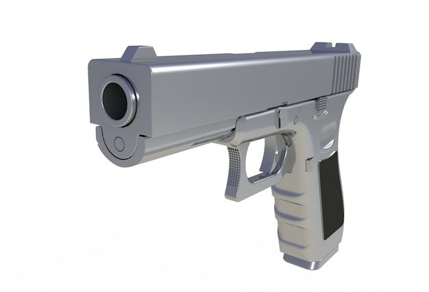 Arme de poing semi-automatique au chrome